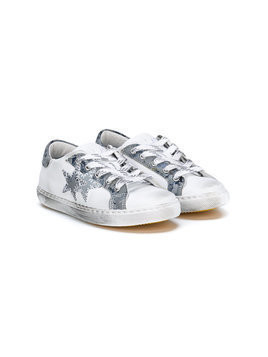 2 Star Kids distressed star patch sneakers - White