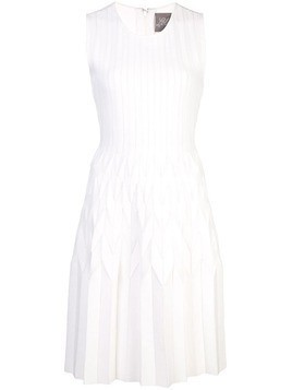 Lela Rose Chevron pleated dress - White