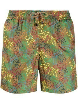 Missoni logo printed swimming trunks - Green