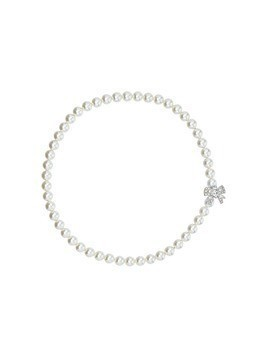 Miu Miu crystal-bow pearl necklace - White