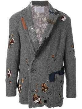 Kolor distressed double-breasted coat - Grey