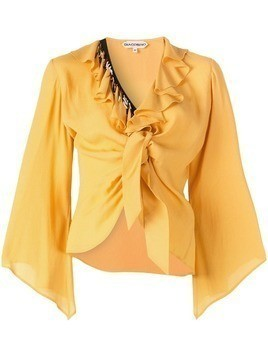 Giacobino ruffled tie knot blouse - Yellow