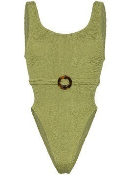 Hunza G Solitaire crinkle-effect swimsuit - Green