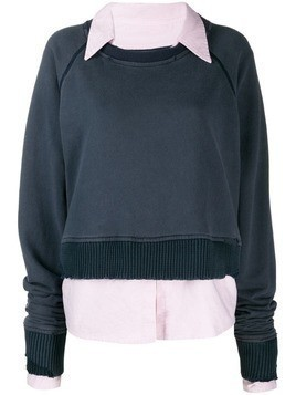 Greg Lauren poplin collar sweatshirt - Blue