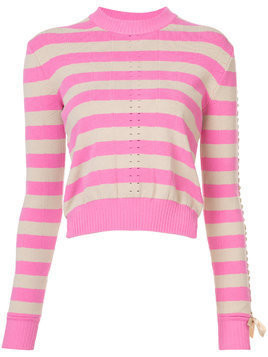 Fendi striped perforated patterned sweater - Pink & Purple