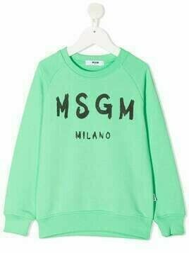 Msgm Kids paint brushed logo-print cotton sweatshirt - Green