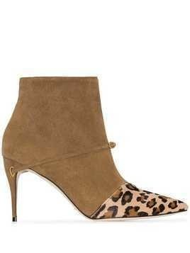 Jennifer Chamandi Niccolo leopard-print panel ankle boots - Brown