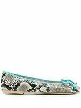 Pretty Ballerinas Dani Roccia snakeskin-effect ballerina shoes - Black