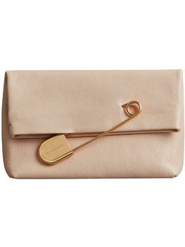 Burberry The Medium Pin Clutch in Leather - Nude & Neutrals
