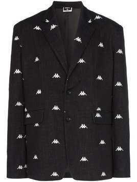 Charm's x Kappa logo embroidered blazer jacket - Black