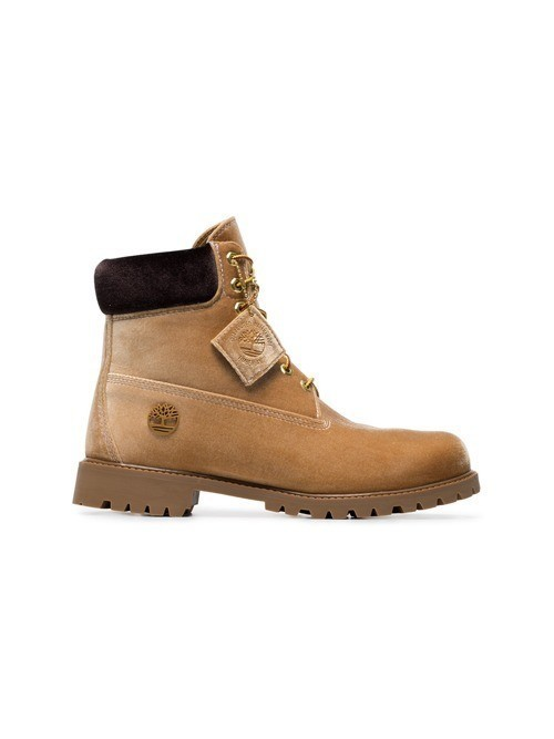 Off-White X Timberland velvet camel boots - Brown
