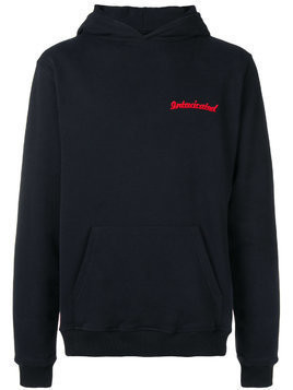 Intoxicated logo embroidered skull hoodie - Black