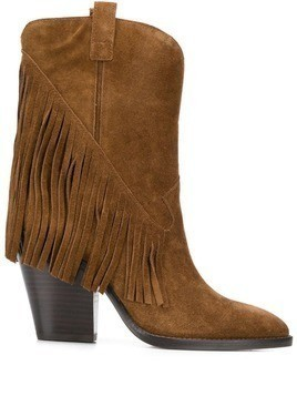 Ash fringed cowboy boots - Brown