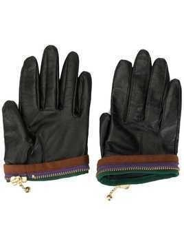 Kolor zip-detail gloves - Black