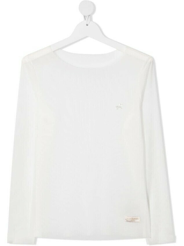 Monnalisa TEEN embellished logo blouse - White