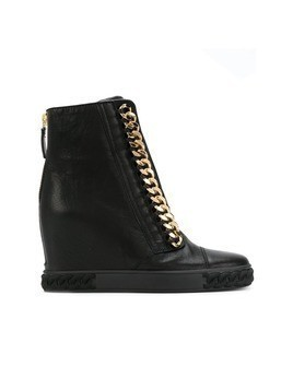 Casadei chain-trimmed wedge sneakers - Black