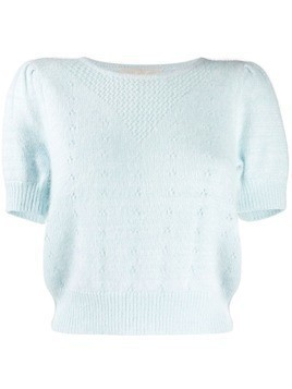 Love Shack Fancy short sleeve knitted top - Blue