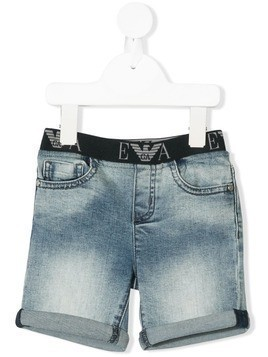 Emporio Armani Kids faded denim shorts - Blue