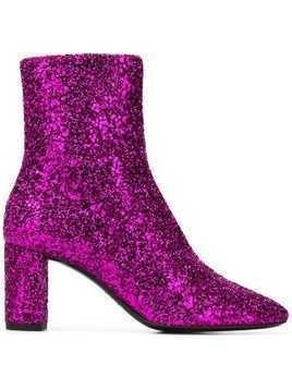 Saint Laurent glitter ankle boots - Pink & Purple