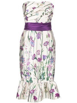 Marchesa Notte floral print strapless dress - White