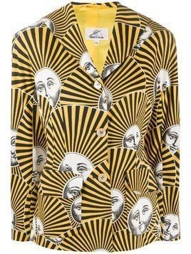 Fornasetti Pre-Owned 2000s striped face print jacket - Yellow
