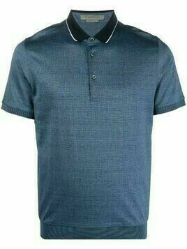 Corneliani contrasting-collar polo shirt - Blue
