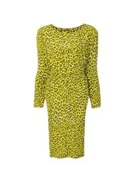 Yves Saint Laurent Vintage leopard print longsleeved dress - Green