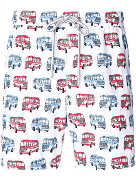 Capricode bus print swim shorts - White
