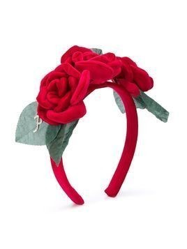 Petit rose applique headband - Red