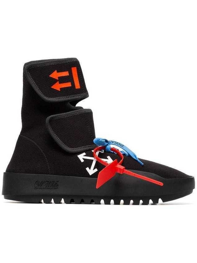 Off-White arrow printed wrap high top sneakers - Black