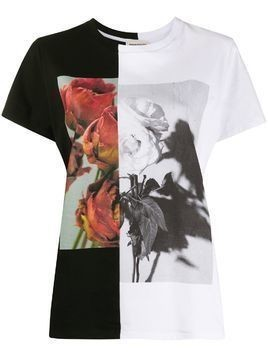 Alexander McQueen two-tone rose print T-shirt - Black
