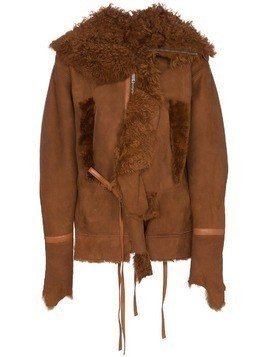 Bed J.W. Ford shearling trimmed suede leather jacket - Brown