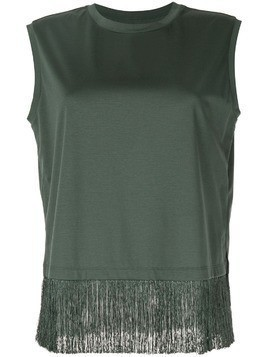 Kuho fringe hem sleeveless T-shirt - Green