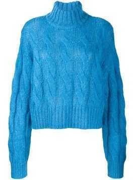 Hope cropped turtle neck jumper - Blue