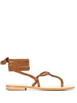 P.A.R.O.S.H. lace-up thong sandals - Brown