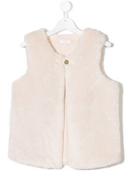 Chloé Kids TEEN faux fur gilet - Nude & Neutrals