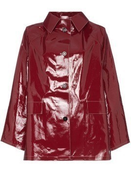 Kassl button down patent raincoat - Red
