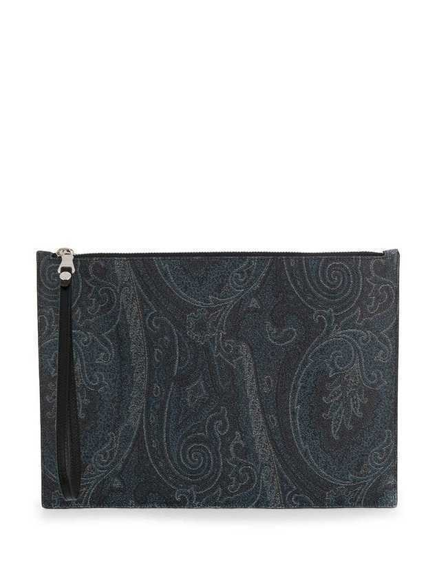 Etro paisley printed clutch - Blue