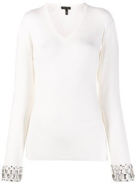 Escada rhinestone-embellished fitted pullover - NEUTRALS