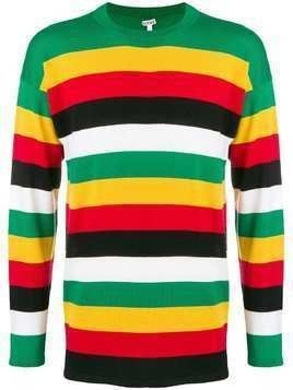 Loewe striped crew neck jumper - Green