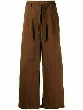 Incotex belted cropped trousers - Brown
