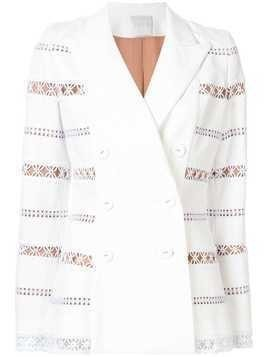 Ingie Paris embroidered double-breasted blazer - White