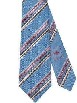 Gucci diagonal stripe tie - Blue