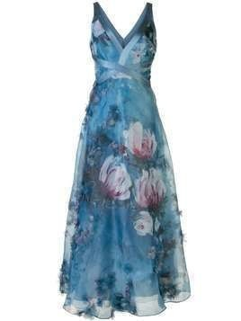Marchesa Notte v-neck floral print effect dress - Blue
