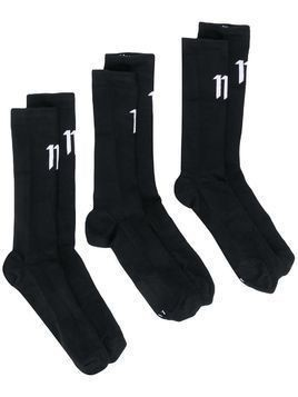11 By Boris Bidjan Saberi logo-print socks - Black