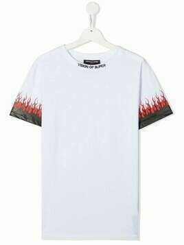 VISION OF SUPER KIDS TEEN flame print T-shirt - White