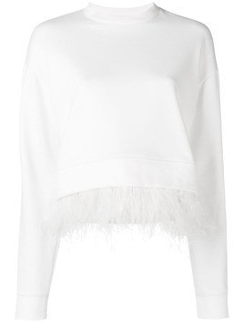 Derek Lam 10 Crosby feather trim sweatshirt - White