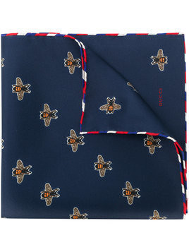 Gucci bee print pocket square - Blue