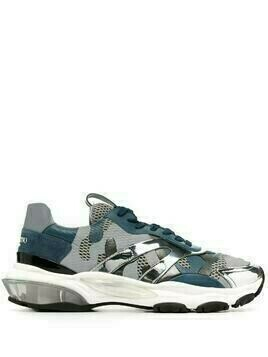 Valentino camouflage pattern panelled sneakers - Blue
