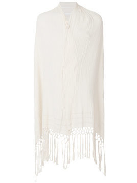 Caravana fringed and shredded shawl - Neutrals